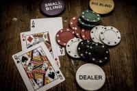 Jetons, poker, carte, smallblind, dealer, dame de pique